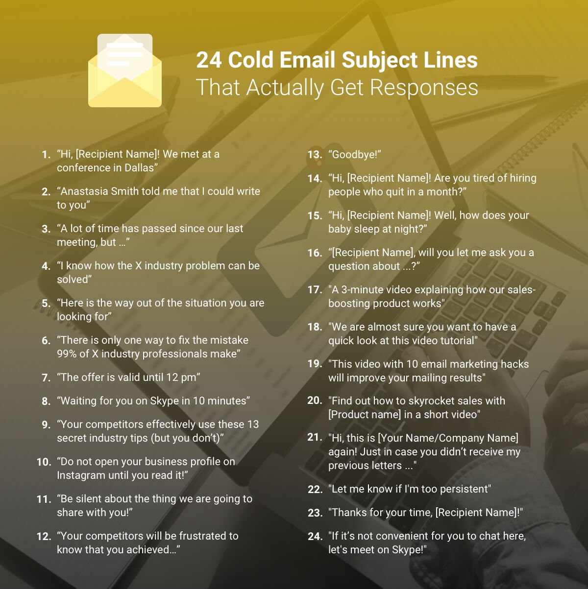cold email subject lines infographics