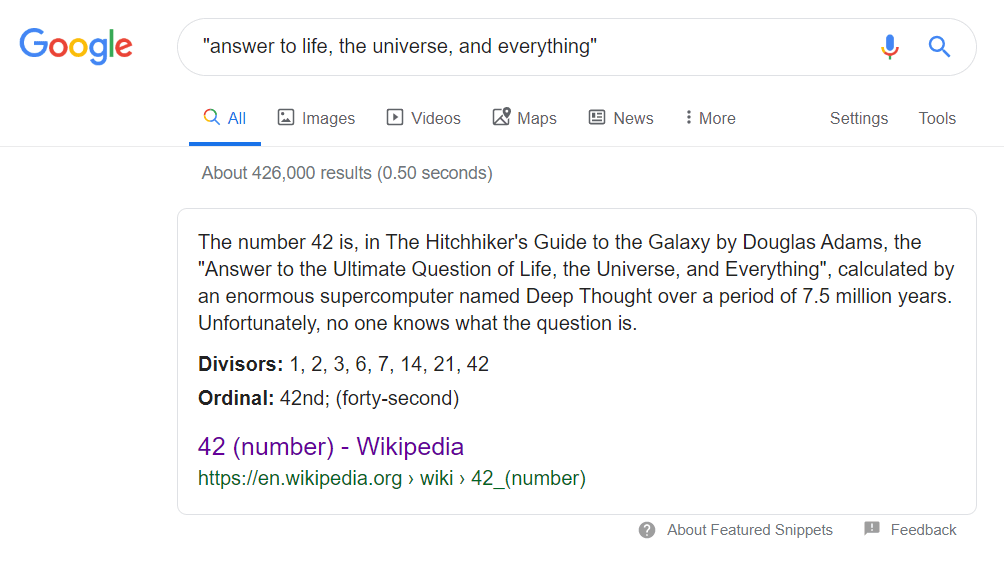 google answer to life