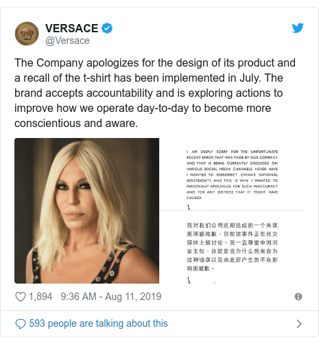 versace apologizes